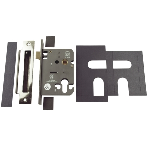 4FIRE Mortice Sashlock Euro Profile with Plates Stainless Steel 76mm FD020