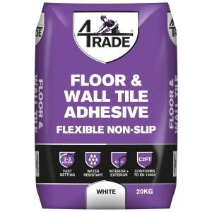 4Trade Flexible NON-SLIP Fast Set Floor & Wall Tile Adhesive White 20kg
