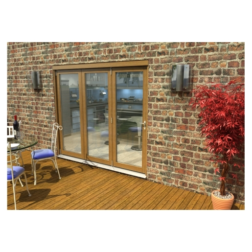 Travis Perkins 54mm Ptq Solid Oak Unfinished External Sliding Folding 2400mm Door Set