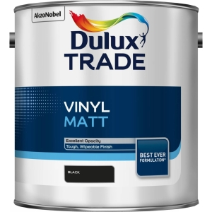 Dulux Trade Vinyl Matt Emulsion Paint Black 2.5L
